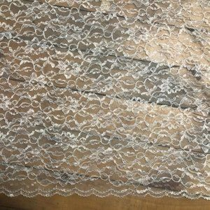 Lace Fabric Flowers Scalloped Edge White